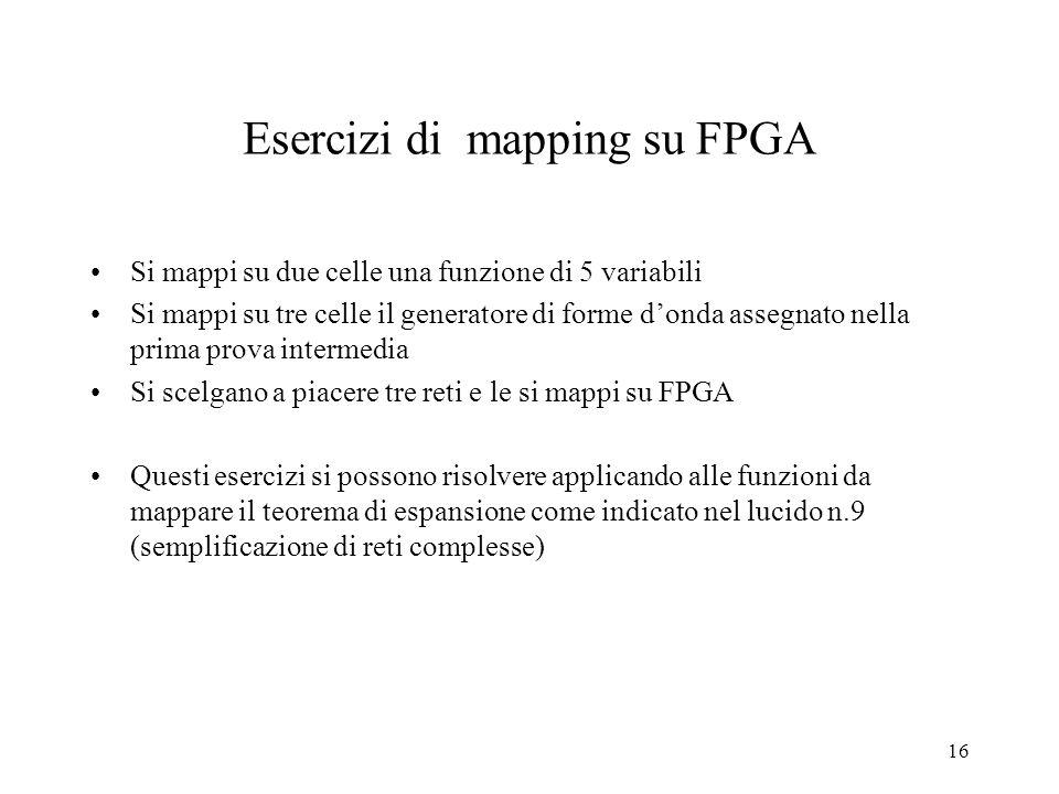 15 Rappresentazione concettuale di una cella logica di FPGA cd 00 011110 00 ab X 11X X 11X 011X X11X 01 11 10 MUX 0 U 1 A YF RC di 4 variabili configu