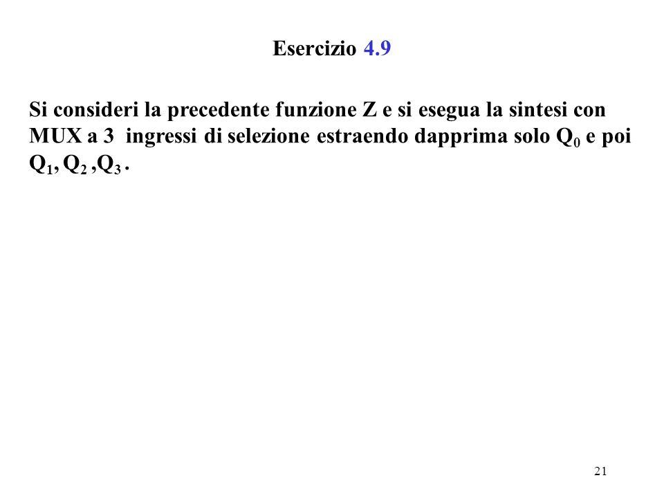 20 Sintesi a MUX di funzioni complesse (4) La soluzione b) presenta minor numero di componenti e minor ritardo rispetto alla a). 100 0 010 - --1 000 0