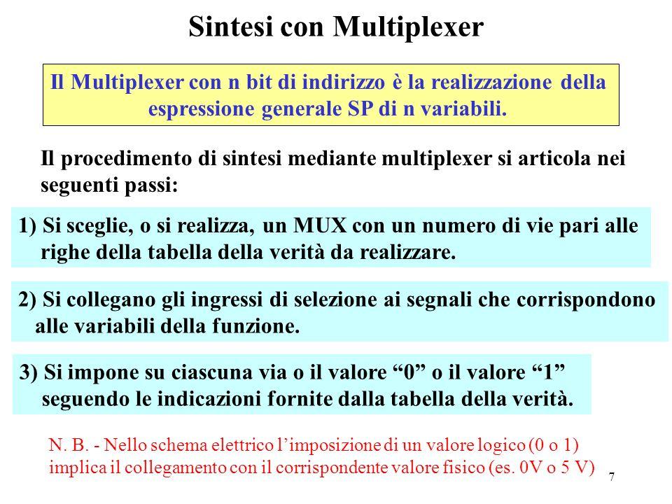 7 Sintesi con Multiplexer 1) Si sceglie, o si realizza, un MUX con un numero di vie pari alle righe della tabella della verità da realizzare.