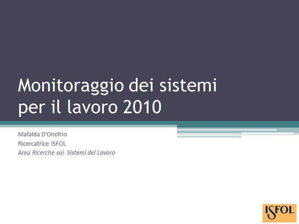 Monitoraggio dei sistemi per il lavoro 2010 Mafalda DOnofrio Ricercatrice ISFOL Area Ricerche sui Sistemi del Lavoro
