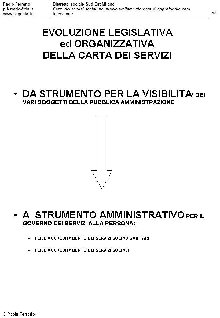 12 Paolo Ferrario p.ferrario@tin.it www.segnalo.it Distretto sociale Sud Est Milano Carte dei servizi sociali nel nuovo welfare: giornata di approfond