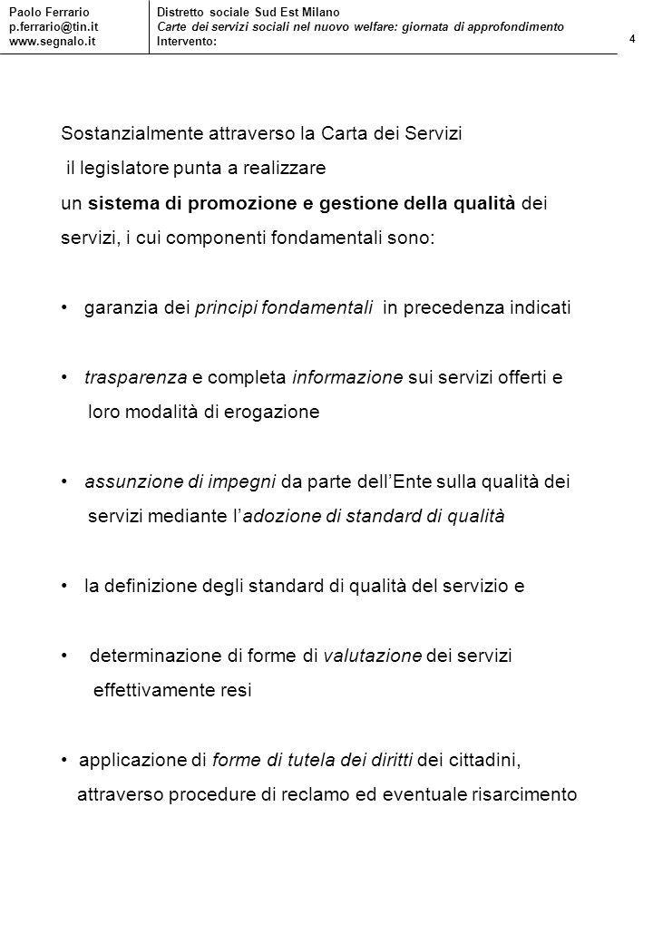 4 Paolo Ferrario p.ferrario@tin.it www.segnalo.it Distretto sociale Sud Est Milano Carte dei servizi sociali nel nuovo welfare: giornata di approfondi