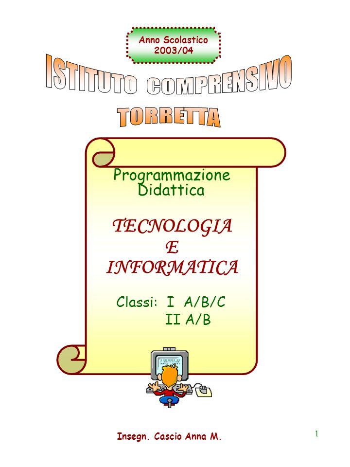 1 Programmazione Didattica TECNOLOGIA E INFORMATICA Classi: I A/B/C II A/B Anno Scolastico 2003/04 Insegn. Cascio Anna M.