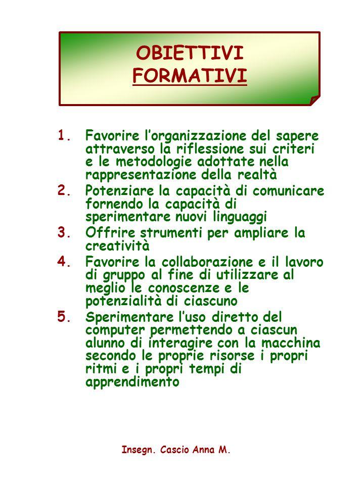 2 OBIETTIVI FORMATIVI 1.Favorire lorganizzazione del sapere attraverso la riflessione sui criteri e le metodologie adottate nella rappresentazione del