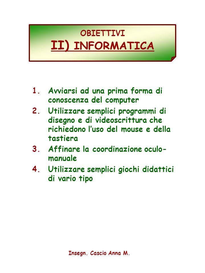 4 OBIETTIVI II) INFORMATICA 1.Avviarsi ad una prima forma di conoscenza del computer 2.Utilizzare semplici programmi di disegno e di videoscrittura ch