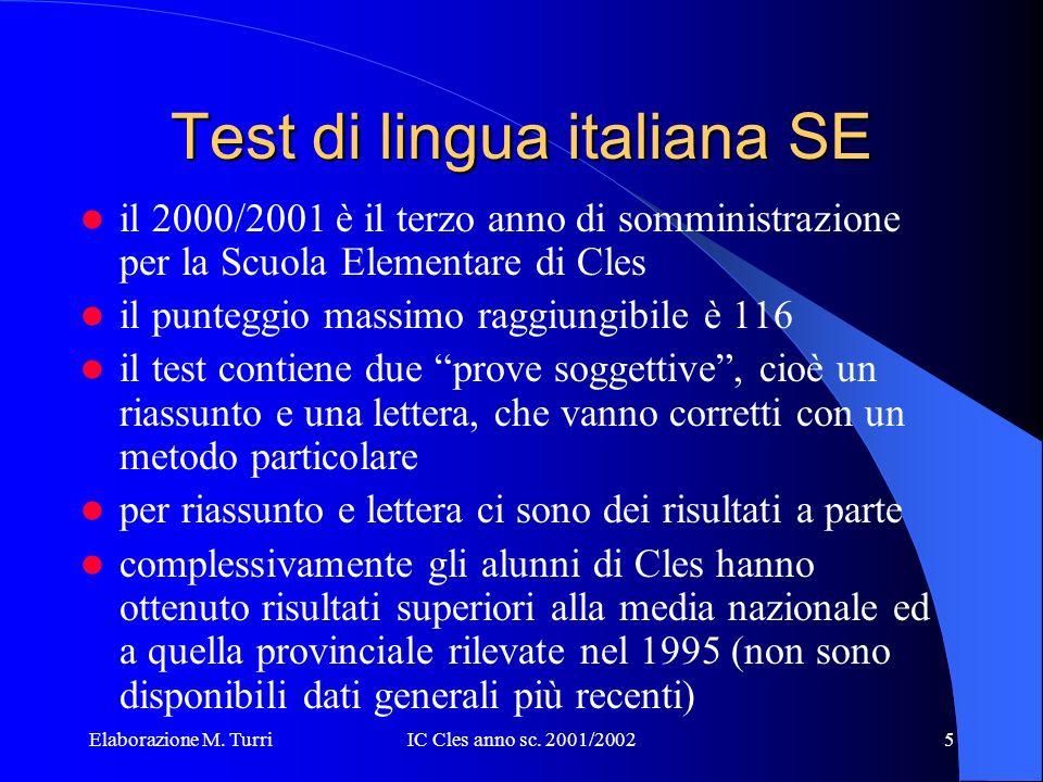 Elaborazione M. TurriIC Cles anno sc. 2001/200215 Matematica SE
