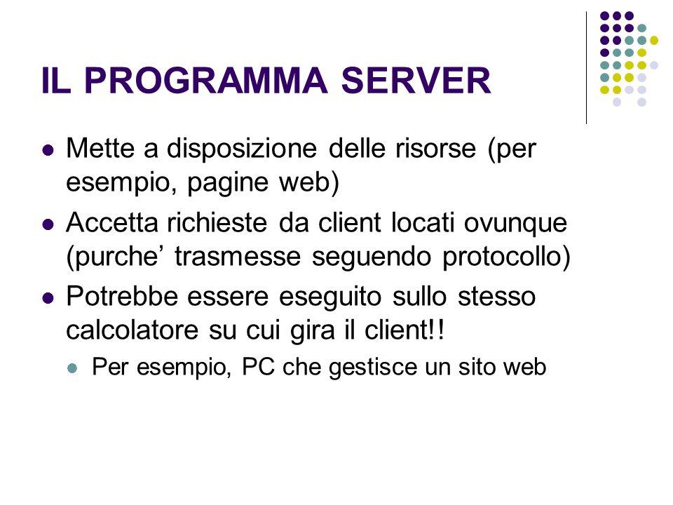 IL PROGRAMMA SERVER Mette a disposizione delle risorse (per esempio, pagine web) Accetta richieste da client locati ovunque (purche trasmesse seguendo protocollo) Potrebbe essere eseguito sullo stesso calcolatore su cui gira il client!.
