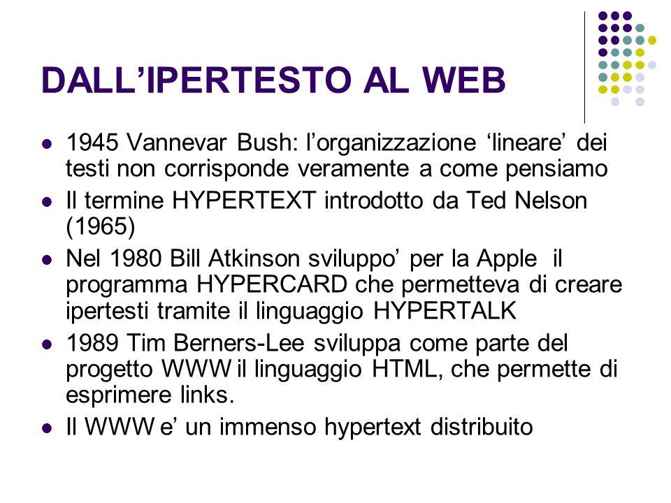 DALLIPERTESTO AL WEB 1945 Vannevar Bush: lorganizzazione lineare dei testi non corrisponde veramente a come pensiamo Il termine HYPERTEXT introdotto da Ted Nelson (1965) Nel 1980 Bill Atkinson sviluppo per la Apple il programma HYPERCARD che permetteva di creare ipertesti tramite il linguaggio HYPERTALK 1989 Tim Berners-Lee sviluppa come parte del progetto WWW il linguaggio HTML, che permette di esprimere links.