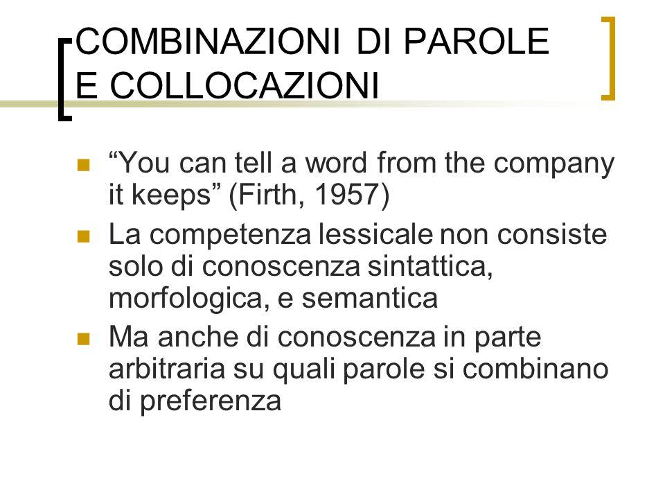 COMBINAZIONI DI PAROLE E COLLOCAZIONI You can tell a word from the company it keeps (Firth, 1957) La competenza lessicale non consiste solo di conosce