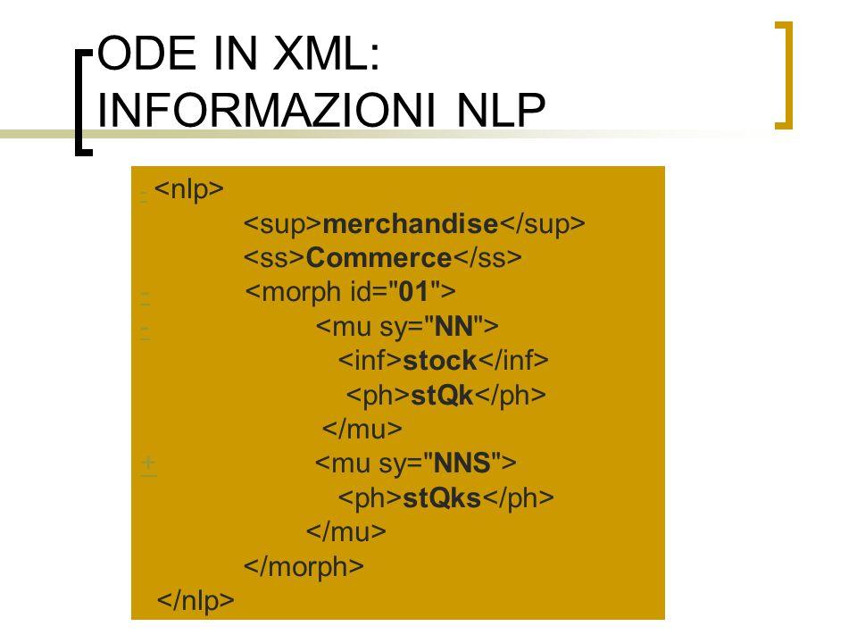 ODE IN XML: INFORMAZIONI NLP - merchandise Commerce - stock stQk + stQks