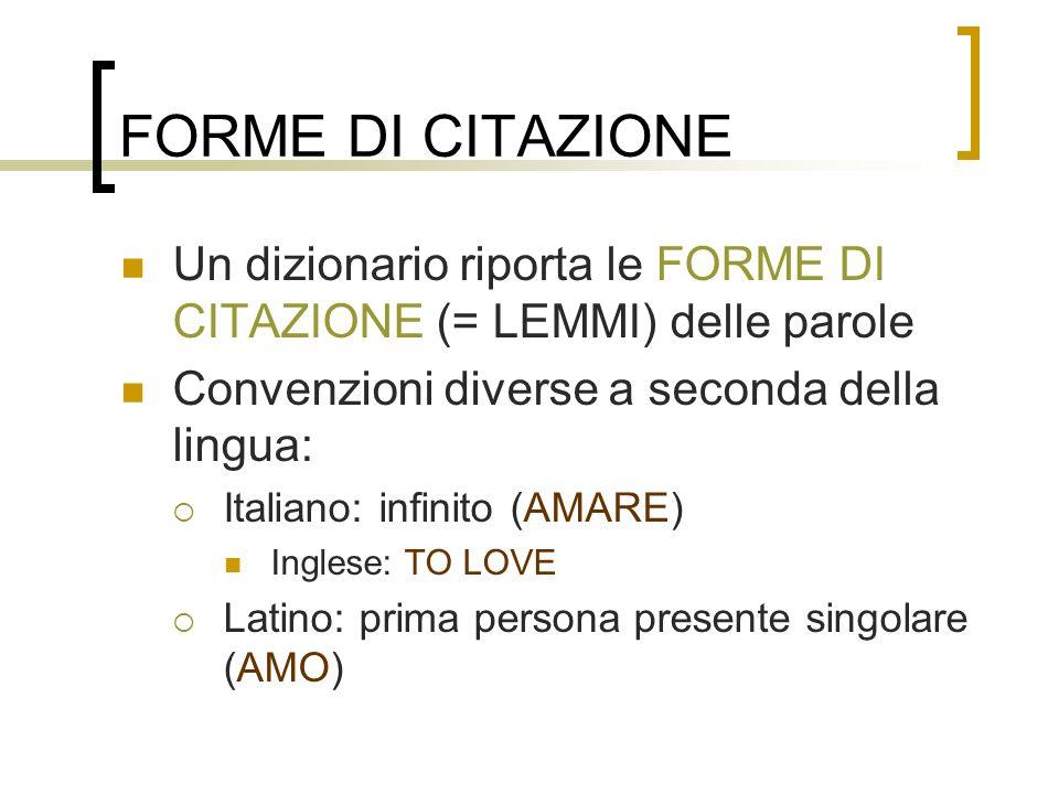 FORME DI CITAZIONE Un dizionario riporta le FORME DI CITAZIONE (= LEMMI) delle parole Convenzioni diverse a seconda della lingua: Italiano: infinito (