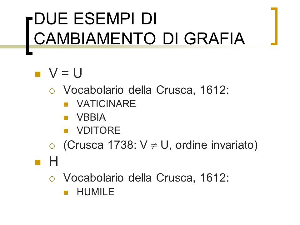 DUE ESEMPI DI CAMBIAMENTO DI GRAFIA V = U Vocabolario della Crusca, 1612: VATICINARE VBBIA VDITORE (Crusca 1738: V U, ordine invariato) H Vocabolario