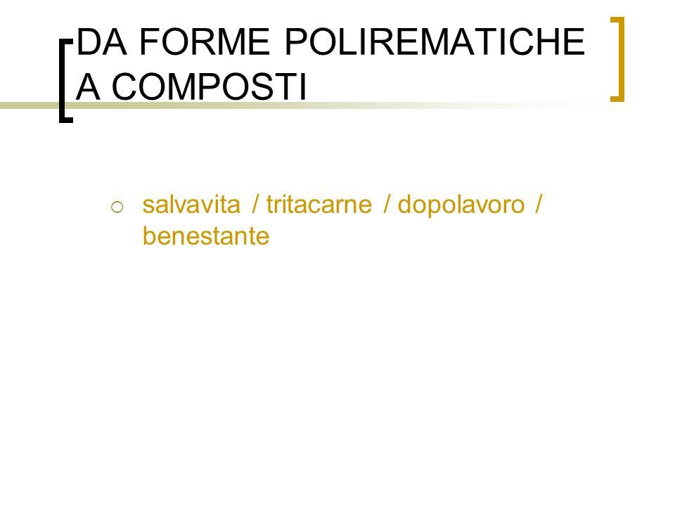 DA FORME POLIREMATICHE A COMPOSTI salvavita / tritacarne / dopolavoro / benestante