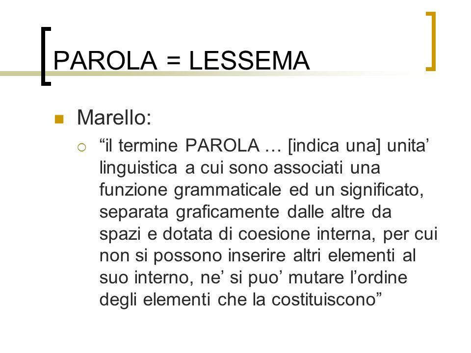 PAROLA = LESSEMA Marello: il termine PAROLA … [indica una] unita linguistica a cui sono associati una funzione grammaticale ed un significato, separat