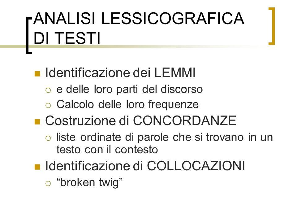 ANALISI LESSICOGRAFICA DI TESTI Identificazione dei LEMMI e delle loro parti del discorso Calcolo delle loro frequenze Costruzione di CONCORDANZE list