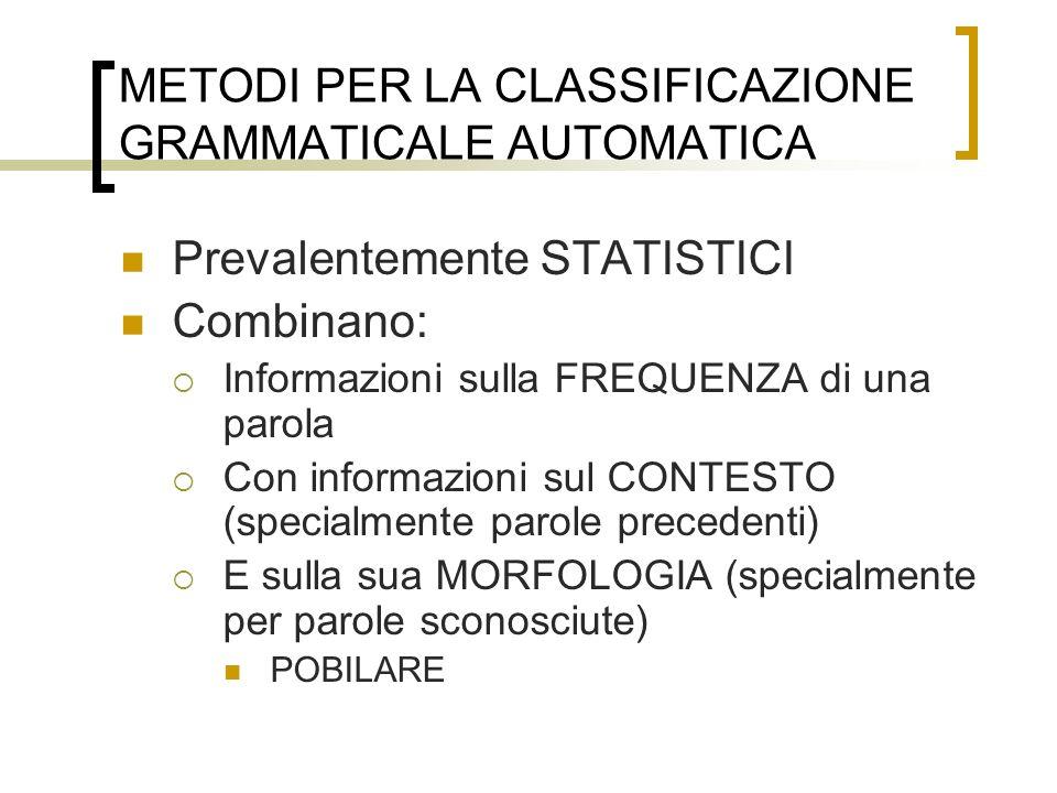 METODI PER LA CLASSIFICAZIONE GRAMMATICALE AUTOMATICA Prevalentemente STATISTICI Combinano: Informazioni sulla FREQUENZA di una parola Con informazion