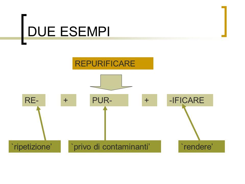 DUE ESEMPI REPURIFICARE `ripetizione`privo di contaminanti RE-+PUR-+-IFICARE `rendere