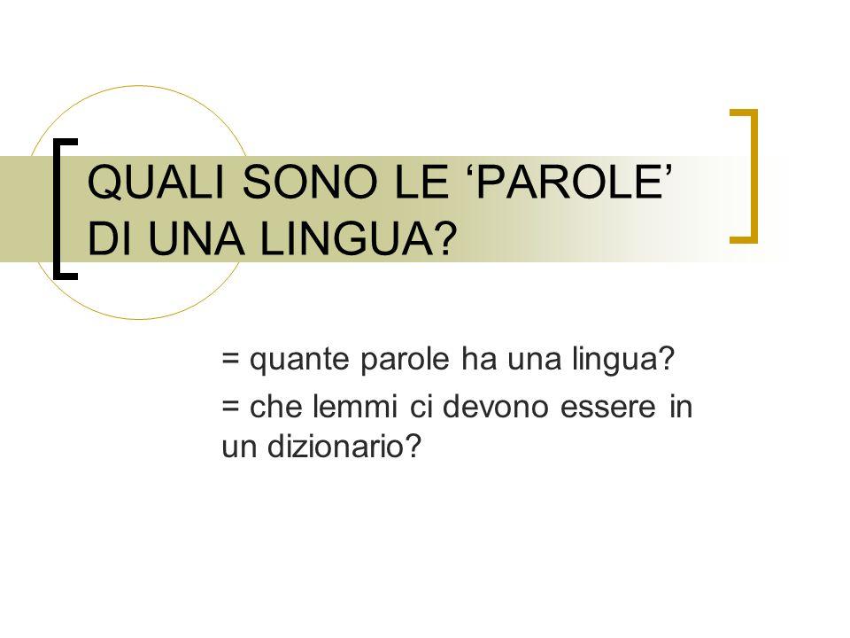 RICORDIAMO ALCUNE DEFINIZIONI PAROLA (Inglese WORD): elemento linguistico (= unita del lessico mentale, LESSEMA) FORME DI PAROLA (Inglese WORD-FORM): Ortografica Fonetica LEMMA La FORMA DI CITAZIONE di una parola in un dizionario, associata con una VOCE (Inglese LEXICAL ENTRY) Spesso si usa il termine lemma per indicare la parola (rapporto 1:1)