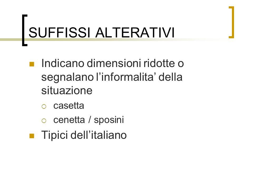 SUFFISSI ALTERATIVI Indicano dimensioni ridotte o segnalano linformalita della situazione casetta cenetta / sposini Tipici dellitaliano