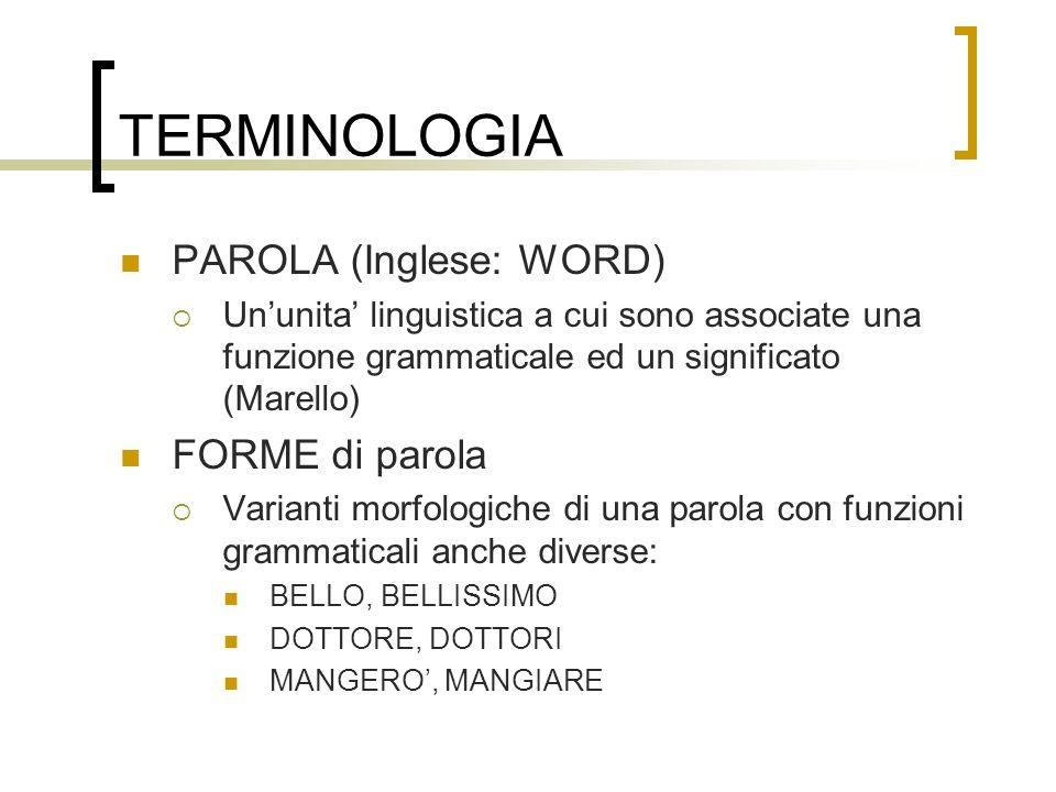TERMINOLOGIA (2) VOCE di un dizionario (Inglese: ENTRY) Le informazioni date da un dizionario su una parola indicizzata da un certo LEMMA LEMMA La forma di parola canonica usata per rappresentare la parola nel dizionario (per esempio, per deciderne la posizione alfabetica) Per esempio, DOTTORE per il sostantivo con forme DOTTORE, DOTTORI MANGIARE per il verbo con forme MANGIO / MANGIERO / MANGIO