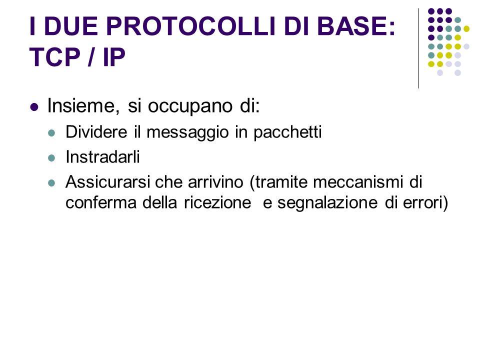 I DUE PROTOCOLLI DI BASE: TCP / IP Insieme, si occupano di: Dividere il messaggio in pacchetti Instradarli Assicurarsi che arrivino (tramite meccanism