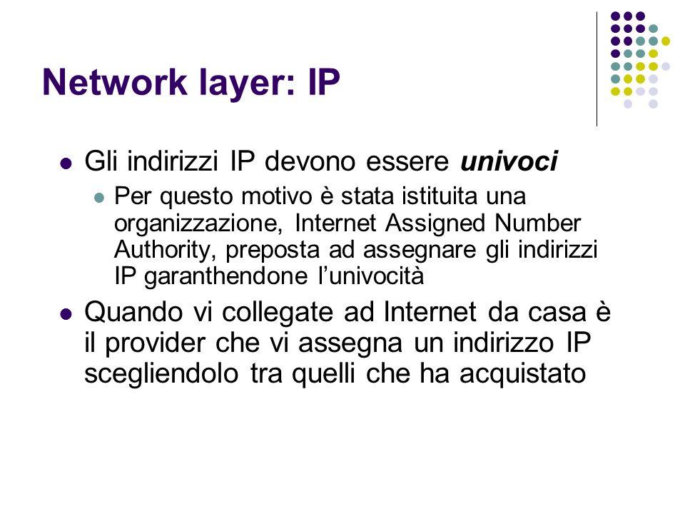 Network layer: IP Gli indirizzi IP devono essere univoci Per questo motivo è stata istituita una organizzazione, Internet Assigned Number Authority, p