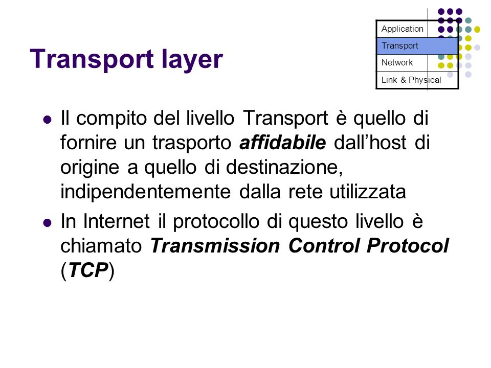Transport layer Il compito del livello Transport è quello di fornire un trasporto affidabile dallhost di origine a quello di destinazione, indipendent
