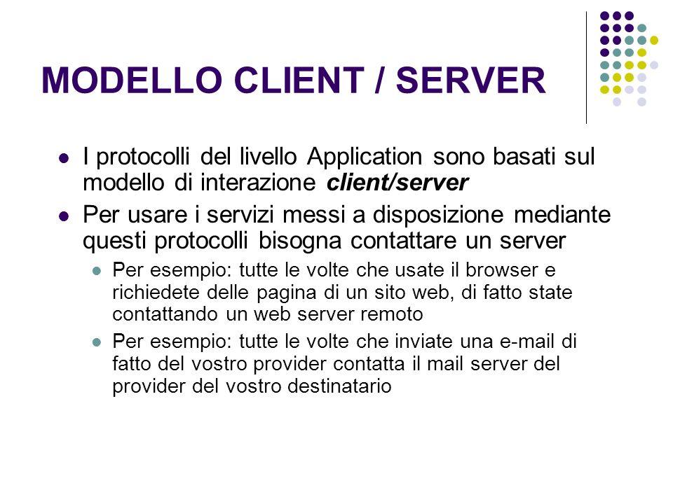 MODELLO CLIENT / SERVER I protocolli del livello Application sono basati sul modello di interazione client/server Per usare i servizi messi a disposiz