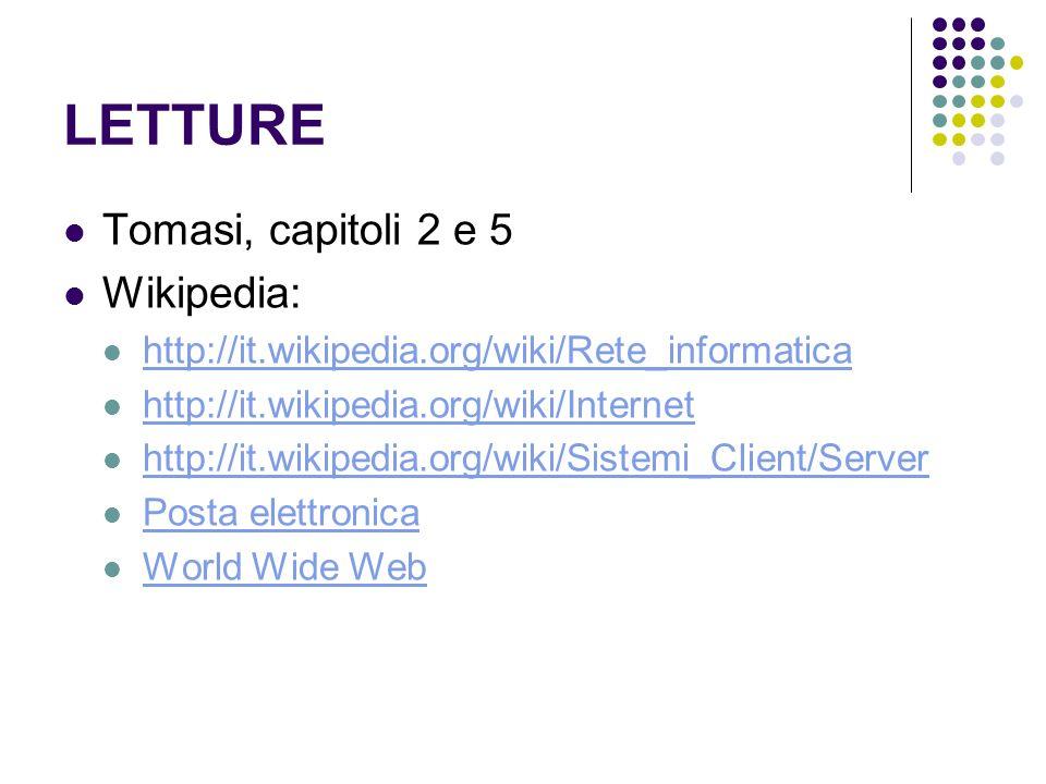 LETTURE Tomasi, capitoli 2 e 5 Wikipedia: http://it.wikipedia.org/wiki/Rete_informatica http://it.wikipedia.org/wiki/Internet http://it.wikipedia.org/