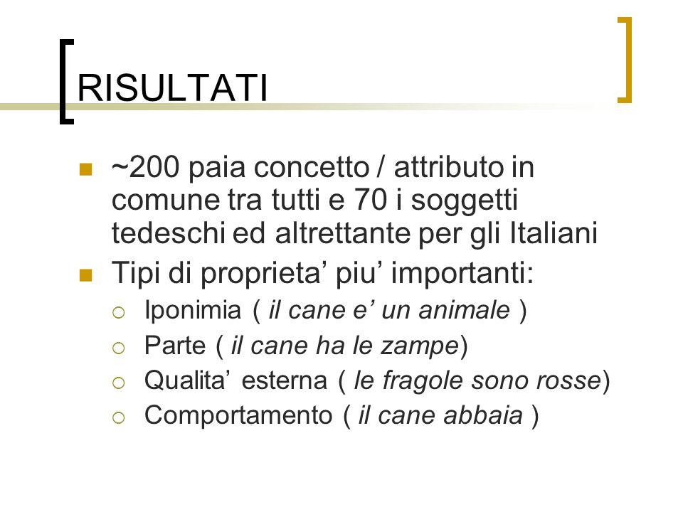 RISULTATI ~200 paia concetto / attributo in comune tra tutti e 70 i soggetti tedeschi ed altrettante per gli Italiani Tipi di proprieta piu importanti