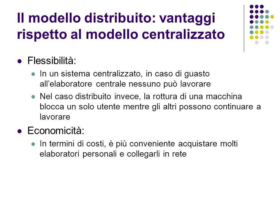 Il modello distribuito: vantaggi rispetto al modello centralizzato Flessibilità: In un sistema centralizzato, in caso di guasto allelaboratore central