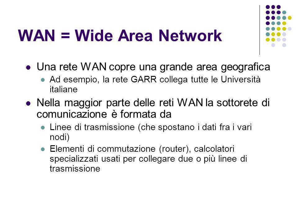 WAN = Wide Area Network Una rete WAN copre una grande area geografica Ad esempio, la rete GARR collega tutte le Università italiane Nella maggior part
