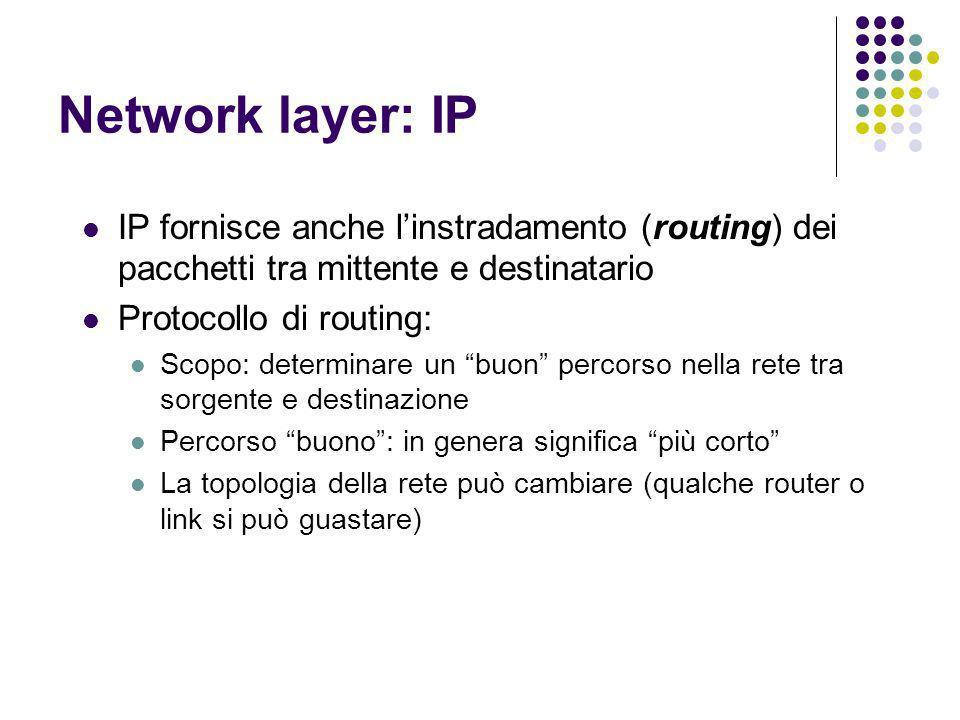 Network layer: IP IP fornisce anche linstradamento (routing) dei pacchetti tra mittente e destinatario Protocollo di routing: Scopo: determinare un bu