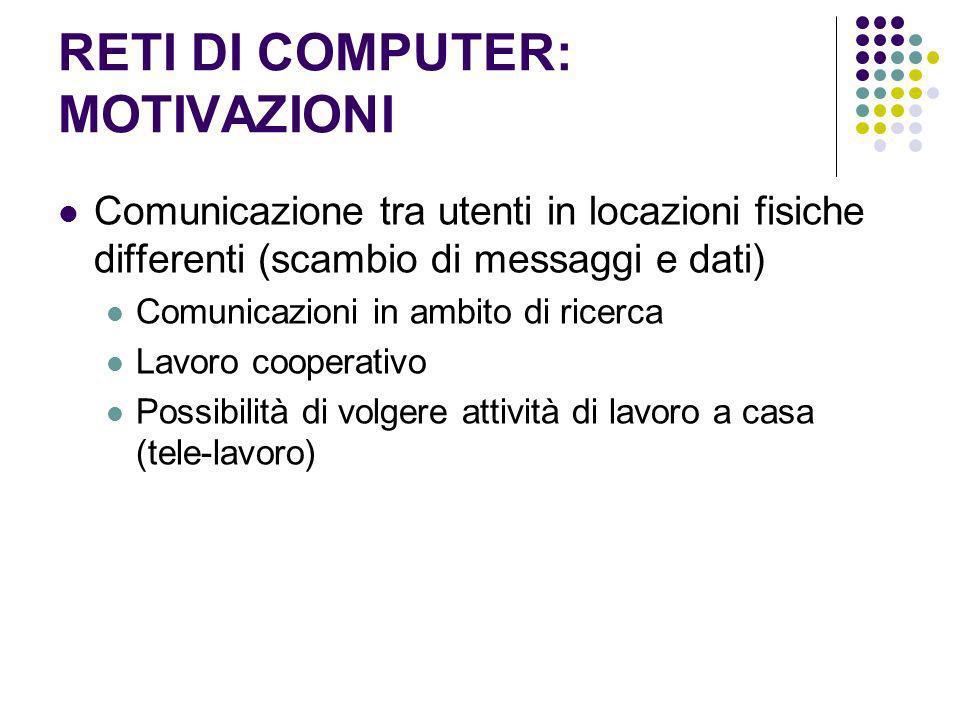 RETI DI COMPUTER: MOTIVAZIONI Comunicazione tra utenti in locazioni fisiche differenti (scambio di messaggi e dati) Comunicazioni in ambito di ricerca