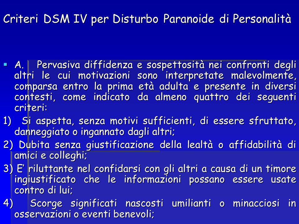Criteri DSM IV per Disturbo Paranoide di Personalità A. Pervasiva diffidenza e sospettosità nei confronti degli altri le cui motivazioni sono interpre