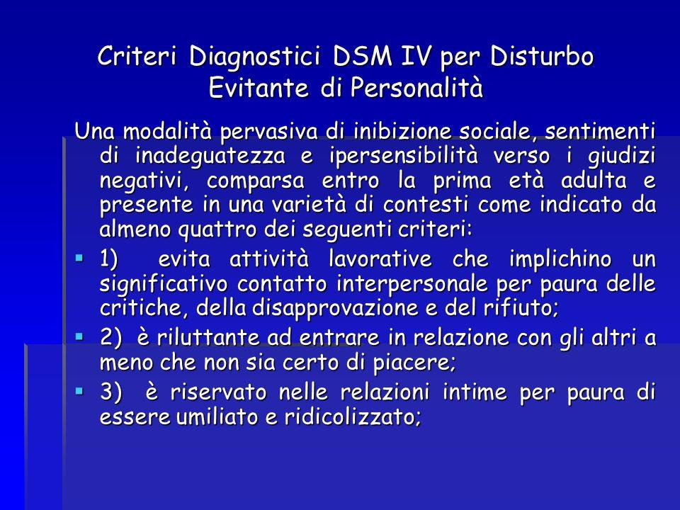 Criteri Diagnostici DSM IV per Disturbo Evitante di Personalità Una modalità pervasiva di inibizione sociale, sentimenti di inadeguatezza e ipersensib