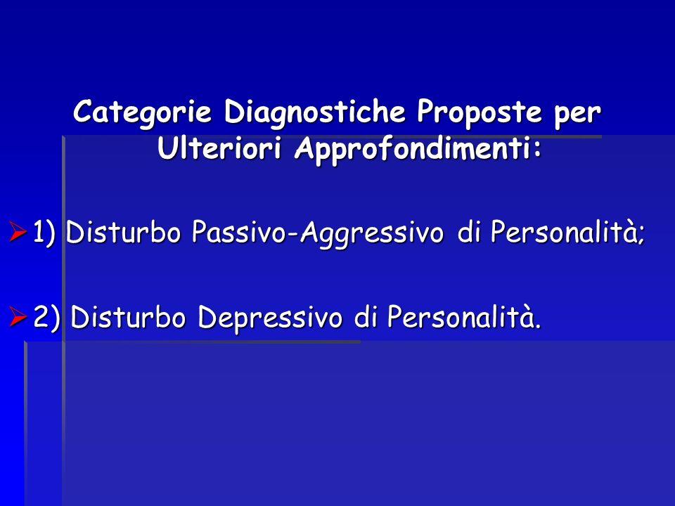 Categorie Diagnostiche Proposte per Ulteriori Approfondimenti: 1) Disturbo Passivo-Aggressivo di Personalità; 1) Disturbo Passivo-Aggressivo di Person