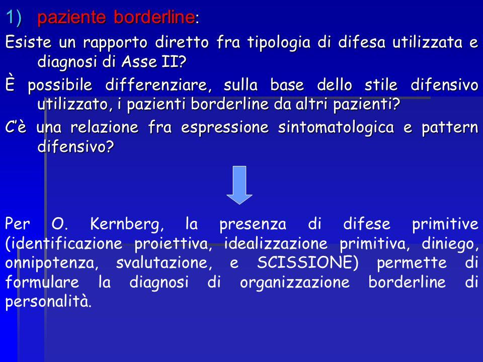1)paziente borderline : Esiste un rapporto diretto fra tipologia di difesa utilizzata e diagnosi di Asse II? È possibile differenziare, sulla base del