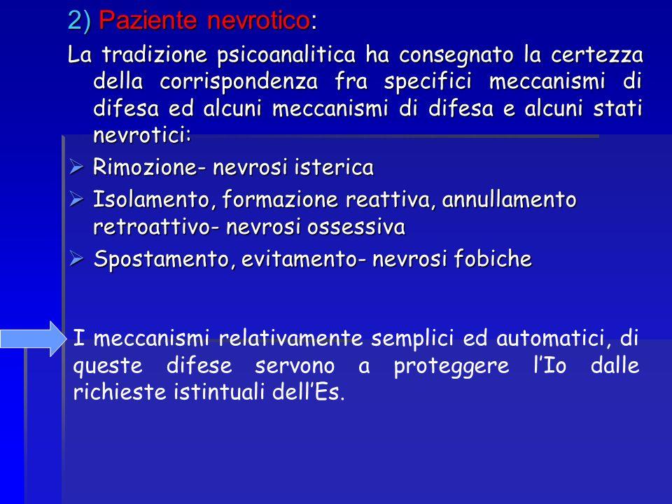2) Paziente nevrotico: La tradizione psicoanalitica ha consegnato la certezza della corrispondenza fra specifici meccanismi di difesa ed alcuni meccan