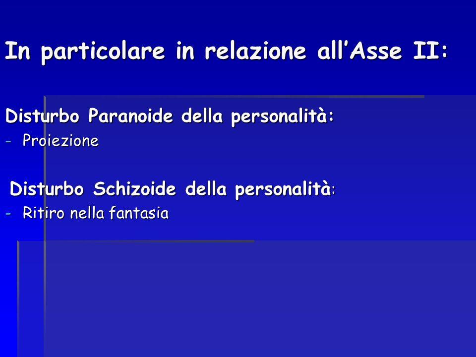 In particolare in relazione allAsse II: Disturbo Paranoide della personalità: -Proiezione Disturbo Schizoide della personalità : Disturbo Schizoide de