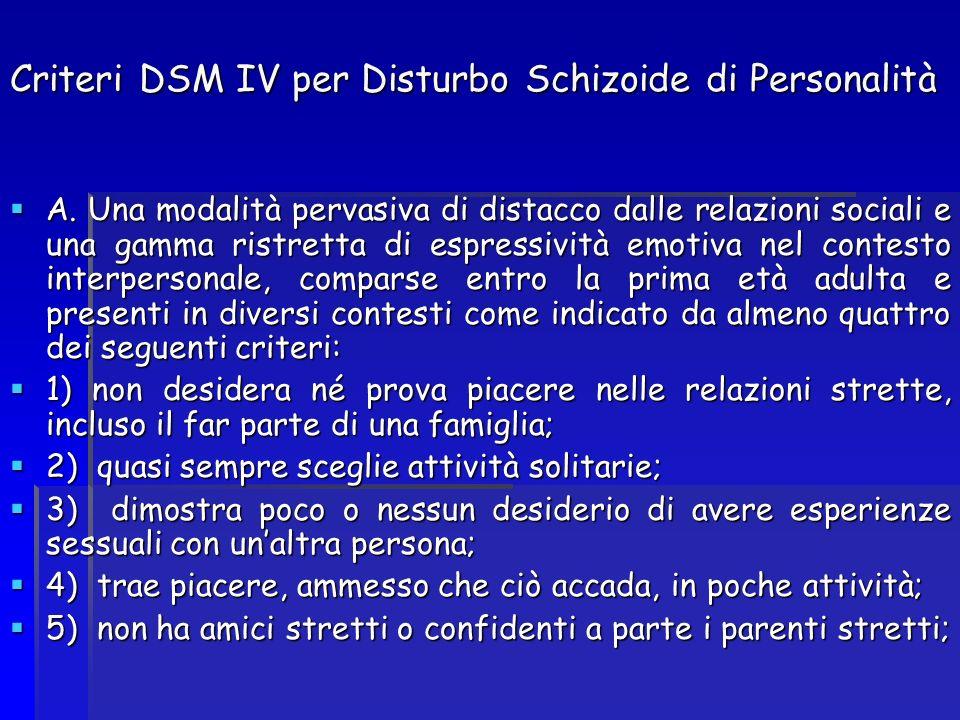 Criteri DSM IV per Disturbo Schizoide di Personalità A. Una modalità pervasiva di distacco dalle relazioni sociali e una gamma ristretta di espressivi