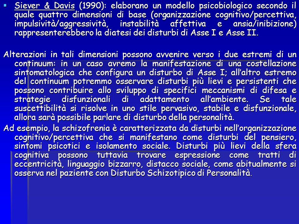 Siever & Davis (1990): elaborano un modello psicobiologico secondo il quale quattro dimensioni di base (organizzazione cognitivo/percettiva, impulsivi
