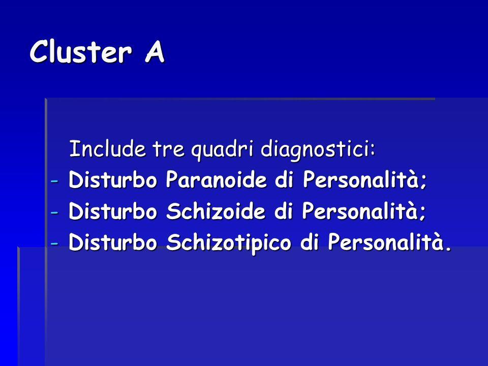 Cluster A Include tre quadri diagnostici: -D-D-D-Disturbo Paranoide di Personalità; -D-D-D-Disturbo Schizoide di Personalità; -D-D-D-Disturbo Schizoti