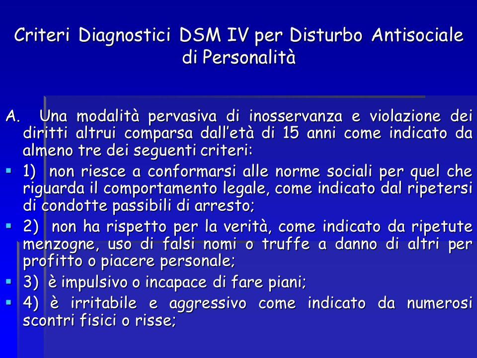Criteri Diagnostici DSM IV per Disturbo Antisociale di Personalità A. Una modalità pervasiva di inosservanza e violazione dei diritti altrui comparsa