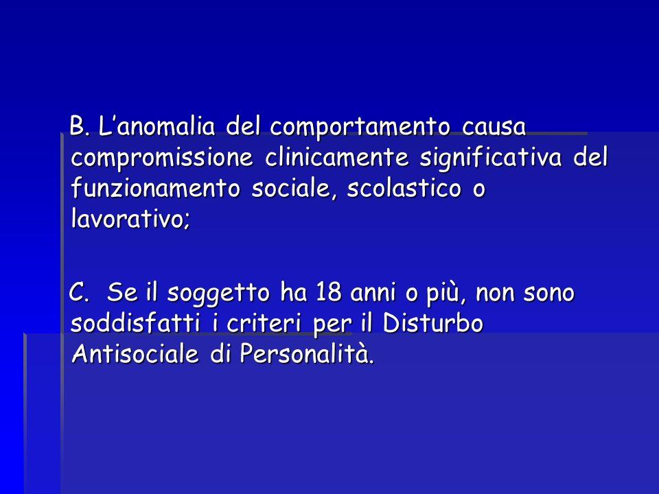 B. Lanomalia del comportamento causa compromissione clinicamente significativa del funzionamento sociale, scolastico o lavorativo; B. Lanomalia del co