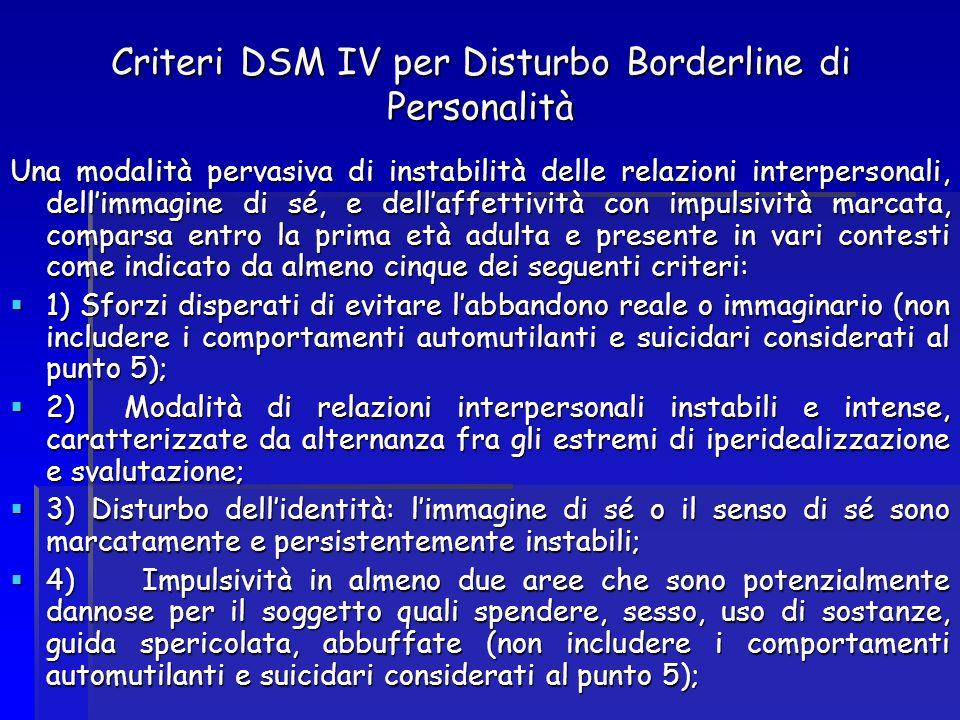 Criteri DSM IV per Disturbo Borderline di Personalità Una modalità pervasiva di instabilità delle relazioni interpersonali, dellimmagine di sé, e dell