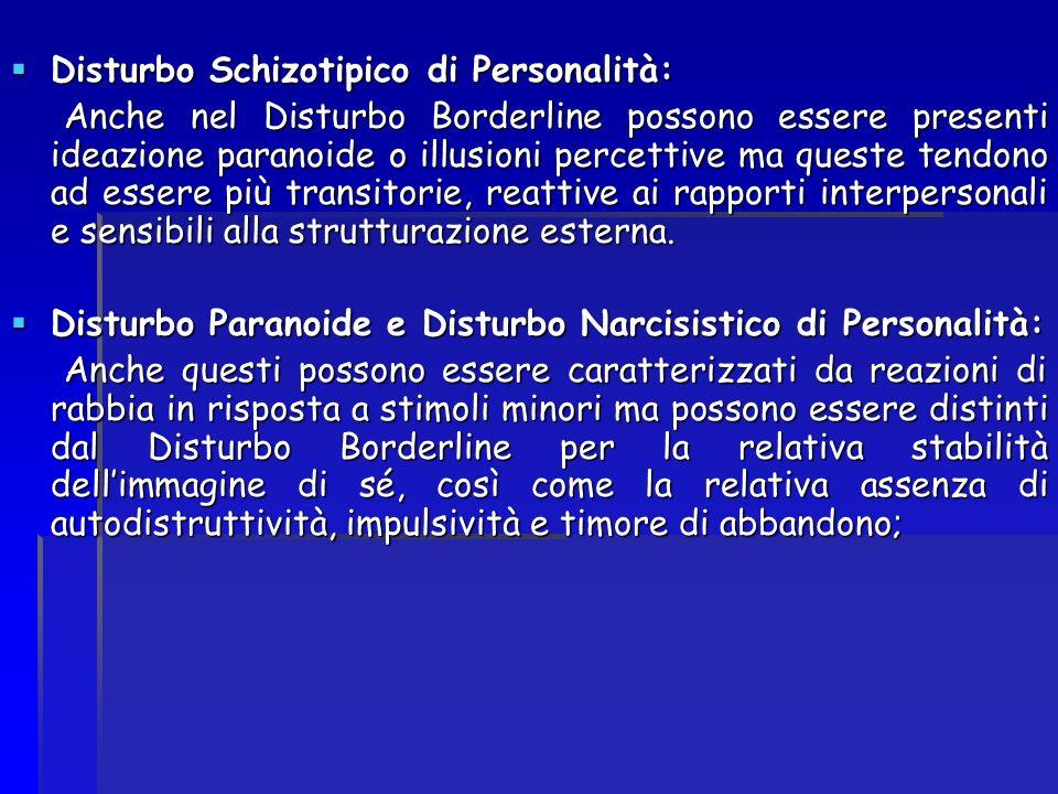 Disturbo Schizotipico di Personalità: Disturbo Schizotipico di Personalità: Anche nel Disturbo Borderline possono essere presenti ideazione paranoide