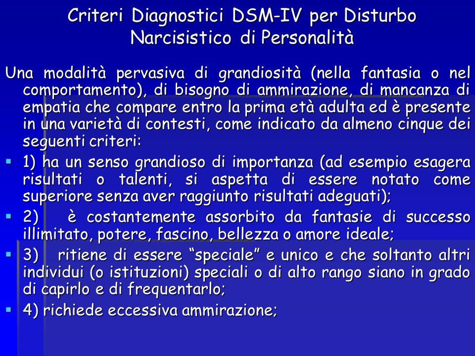 Criteri Diagnostici DSM-IV per Disturbo Narcisistico di Personalità Una modalità pervasiva di grandiosità (nella fantasia o nel comportamento), di bis