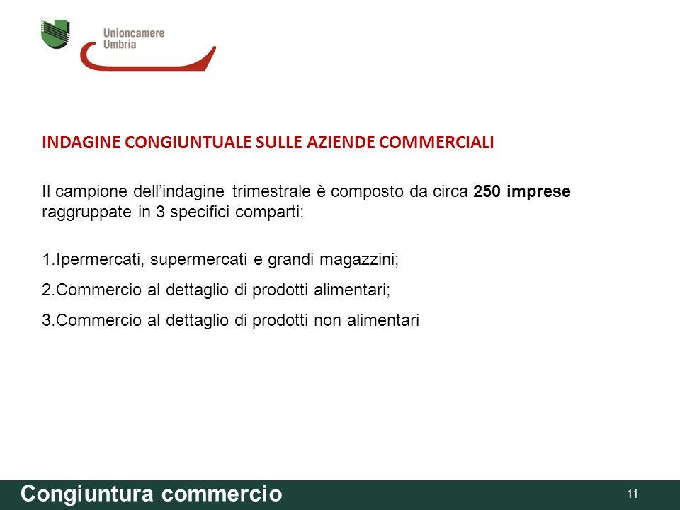 Congiuntura commercio INDAGINE CONGIUNTUALE SULLE AZIENDE COMMERCIALI Il campione dellindagine trimestrale è composto da circa 250 imprese raggruppate