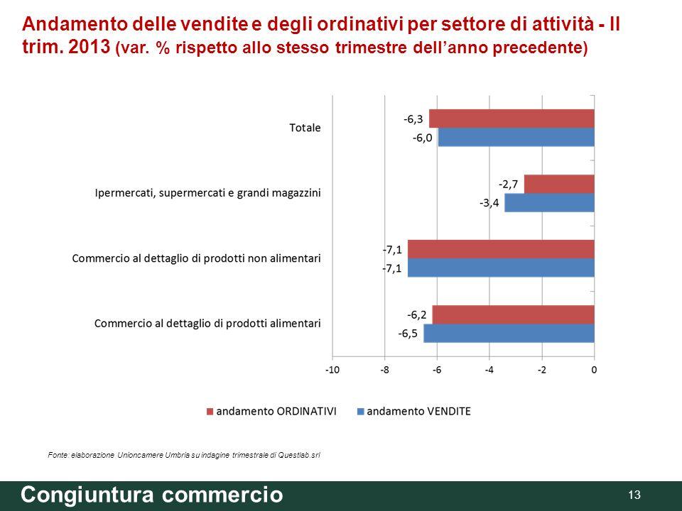 Andamento delle vendite e degli ordinativi per settore di attività - II trim. 2013 (var. % rispetto allo stesso trimestre dellanno precedente) Congiun